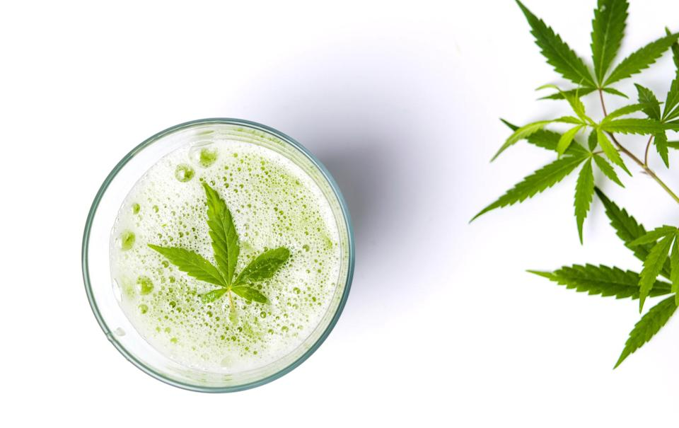 A cannabis leaf sitting atop carbonation in a glass, with cannabis leaves to the right side of the glass.