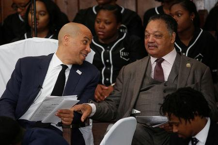 Democratic 2020 U.S. presidential candidate and U.S. Senator Cory Booker (D-NJ) talks with  before giving the keynote speech at Brown Chapel AME Church in Selma, Alabama, U.S. March 3, 2019.  REUTERS/Chris Aluka Berry