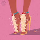 Pocahontas in a personalized Chloe 'Daniella' fringed suede sandals.