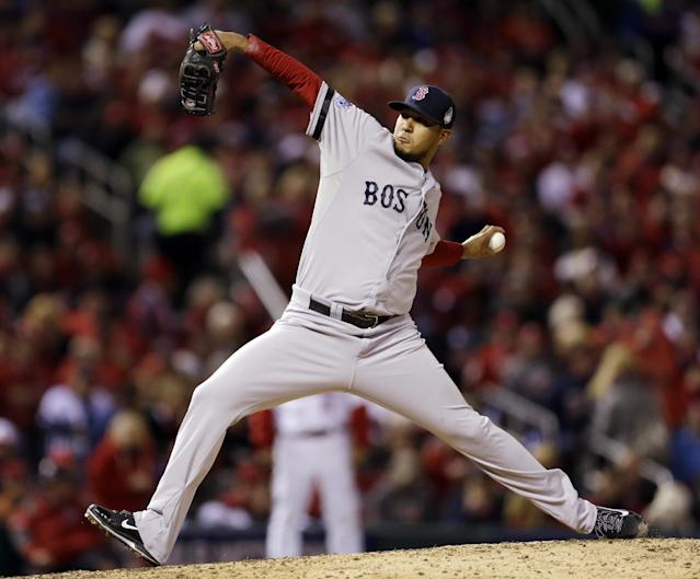 Boston Red Sox relief pitcher Felix Doubront throws during the fifth inning of Game 4 of baseball's World Series Sunday, Oct. 27, 2013, in St. Louis. (AP Photo/Jeff Roberson)