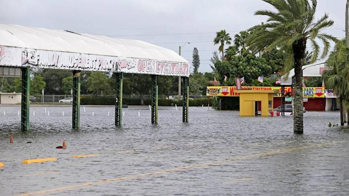 The Swap Shop on Sunrise Boulevard in Fort Lauderdale flooded from overnight storms from Tropical Storm Eta, on Monday, Nov. 9, 2020.