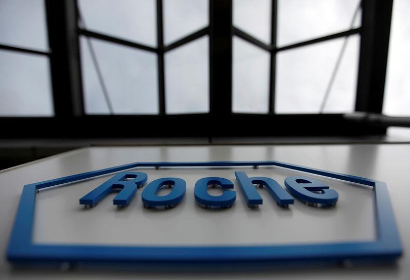 FILE PHOTO: The logo of the Swiss drugmaker Roche is seen on a factory in Burgdorf