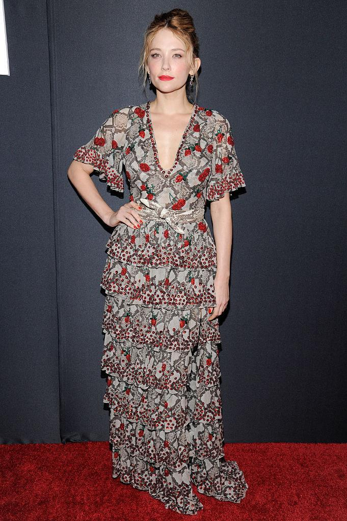 """<p>Red lips emphasize the red flecks on this ruffled number Haley wore to """"The Girl On The Train"""" New York premiere. <i>(Photo by Matthew Eisman/Getty Images)</i><br></p>"""
