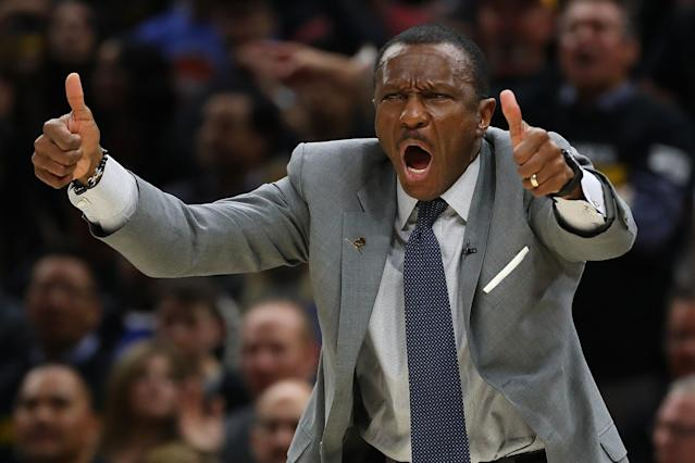 "Dwane Casey emphatically approves of the <a class=""link rapid-noclick-resp"" href=""/nba/teams/det"" data-ylk=""slk:Detroit Pistons"">Detroit Pistons</a>' decision to hire him. (Getty)"