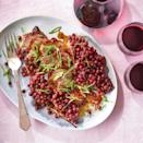 <p>Grape jelly, with its sweet, fruity flavor, matches with the smoke and heat of chipotle to season this oven-roasted pork tenderloin. In addition to the jelly, whole grapes are roasted along with the pork for a one-pan entree that's ready in just 35 minutes.</p>