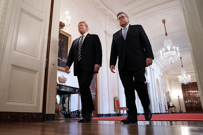 President Trump and Attorney General William Barr in the White House in May. (Photo: Chip Somodevilla/Getty Images)