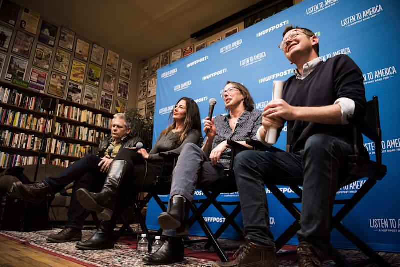 "Moderator Greg Veis (far right) sits with panelists Walter Kirn, Seabring Davis and Jamie Harrison Potenberg during the ""Please Don't Let Me Be Misunderstood"" event at Elk River Books."