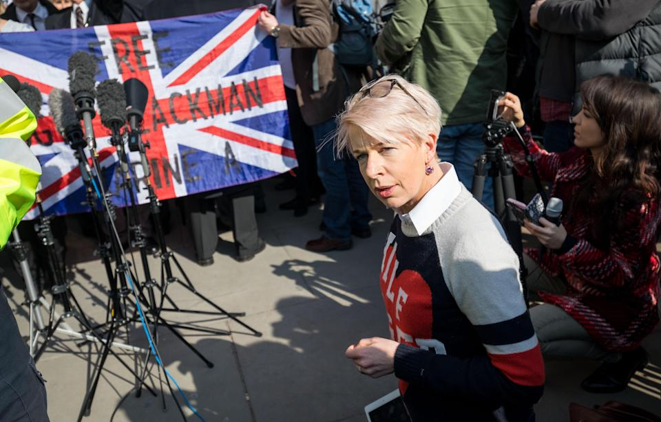 Katie Hopkins arguing with the media. (REX)