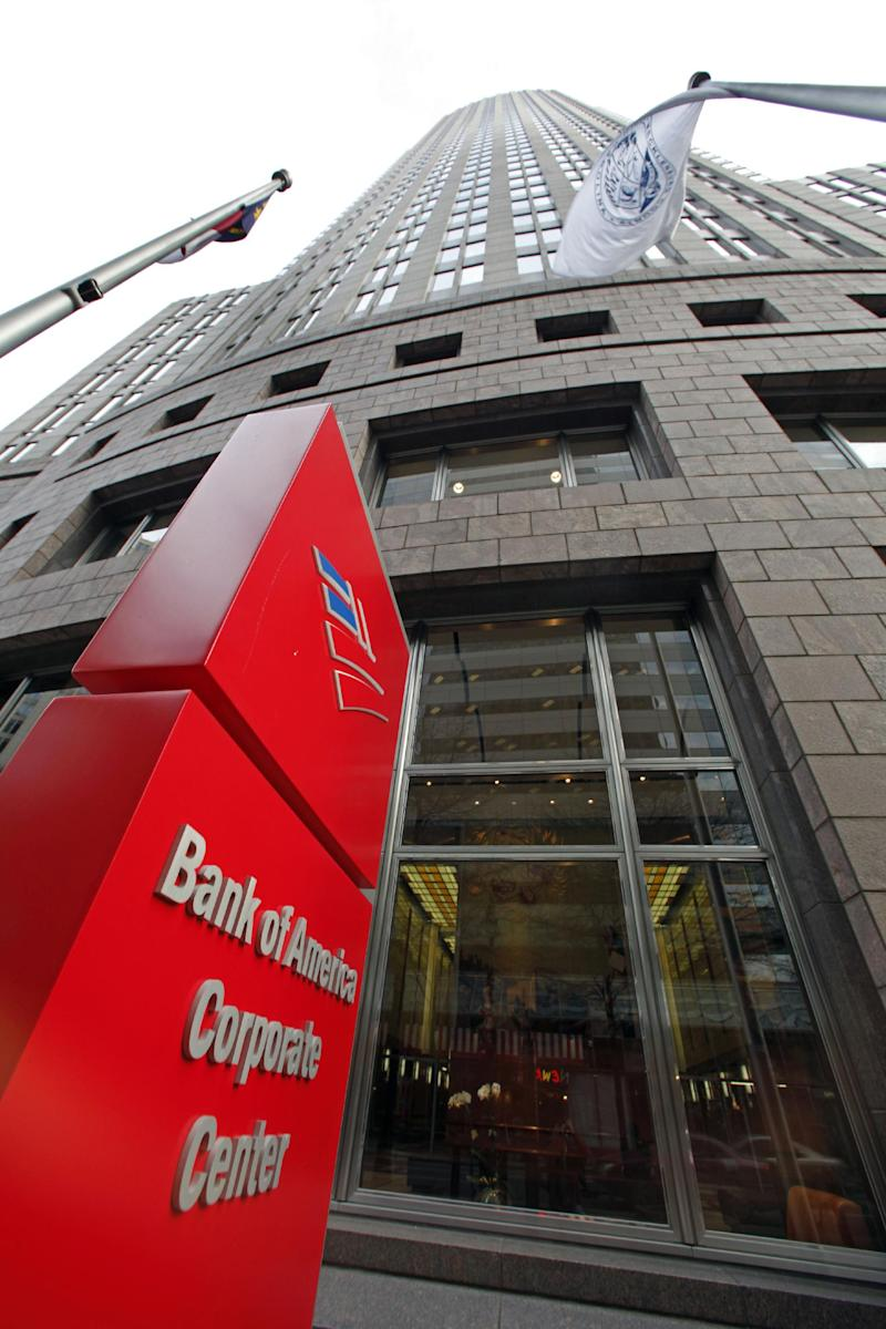 FILE - In this file photograph taken Jan. 20, 2011, Bank of America's corporate headquarters is shown in Charlotte, N.C.  Bank of America Corp. on Monday, Aug. 29, 2011, said it is selling half of its stake in China Construction Bank Corp. in a move intended to raise cash to shore up its capital base. (AP Photo/Chuck Burton, File)