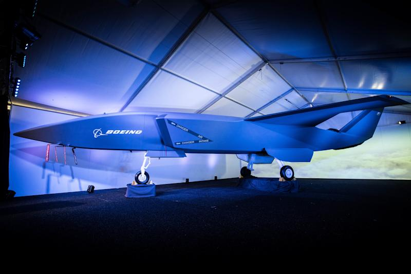 Prototype of Boeing's Airpower Teaming System drone on display in Australia