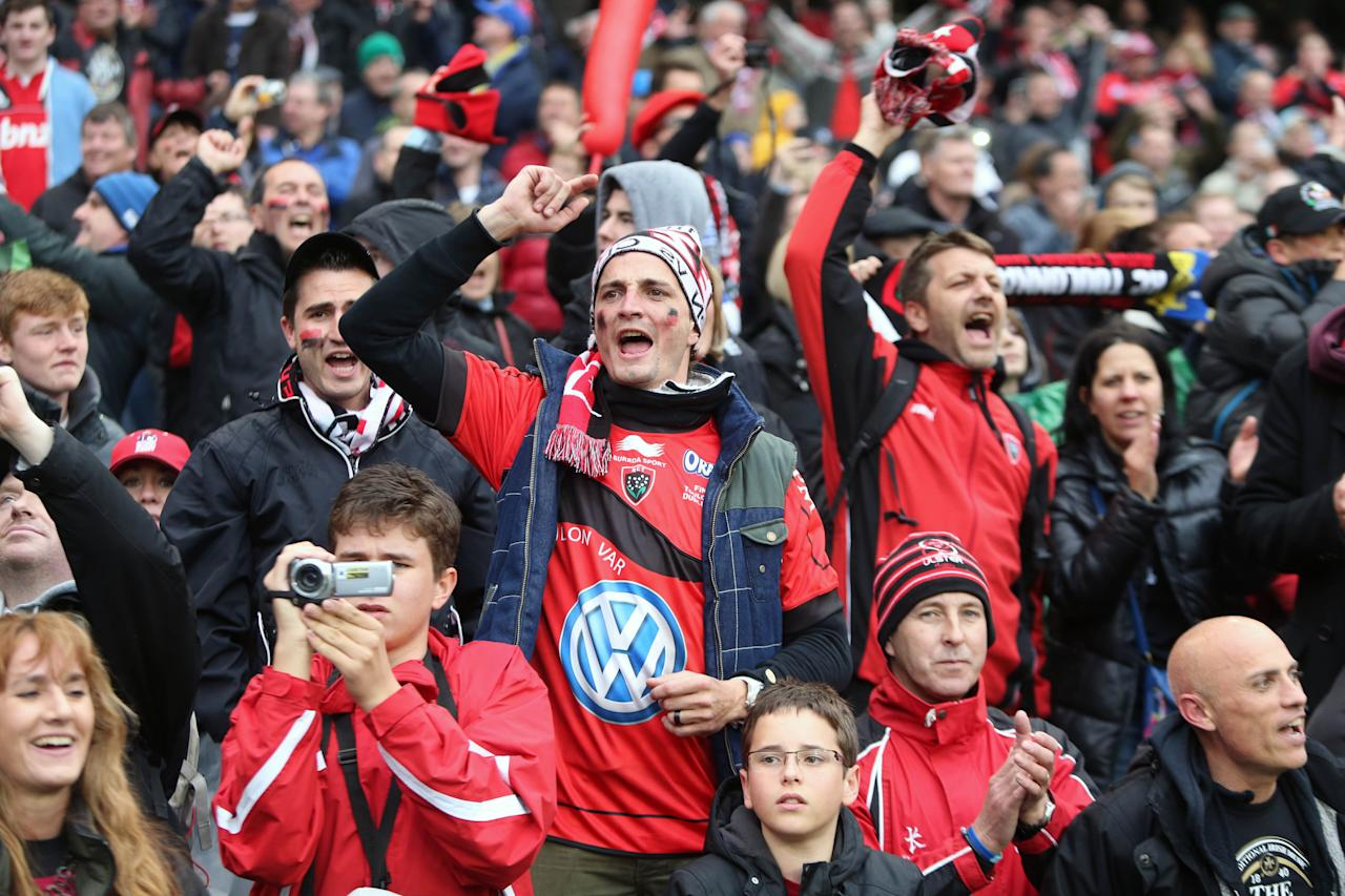 Toulon fans celebrate beating Clermont Auvergn in the Heineken Cup Final match at the Aviva Stadium, Dublin, Ireland. PRESS ASSOCATION Photo. Picture date: Saturday May 18, 2013. See PA story RUGBYU Final. Photo credit should read: Niall Carson/PA Wire.