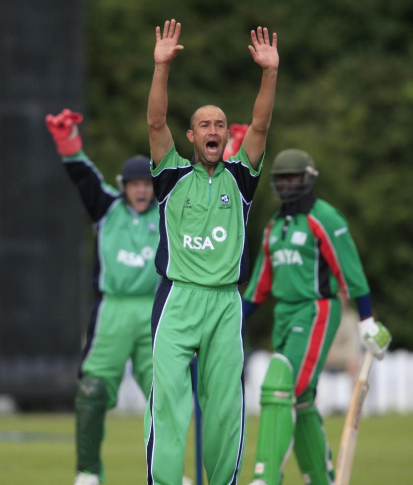 BELFAST - AUGUST 04:  Andre Botha (C) of Ireland celebrates bowling out Stephen Ogonki Tikolo of Kenya during the Ireland v Kenya ICC World Twenty20 Cup Qualifier on August 4, 2008 in Belfast, Northern Ireland. (Photo by Peter Muhly/Getty Images)