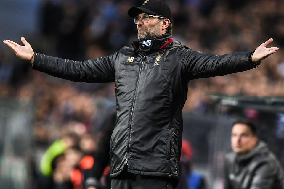 Liverpool's German coach Jurgen Klopp gestures during the UEFA Champions League quarter-final second leg football match between FC Porto and Liverpool at the Dragao stadium in Porto on April 17, 2019. (Photo by PATRICIA DE MELO MOREIRA / AFP)        (Photo credit should read PATRICIA DE MELO MOREIRA/AFP/Getty Images)