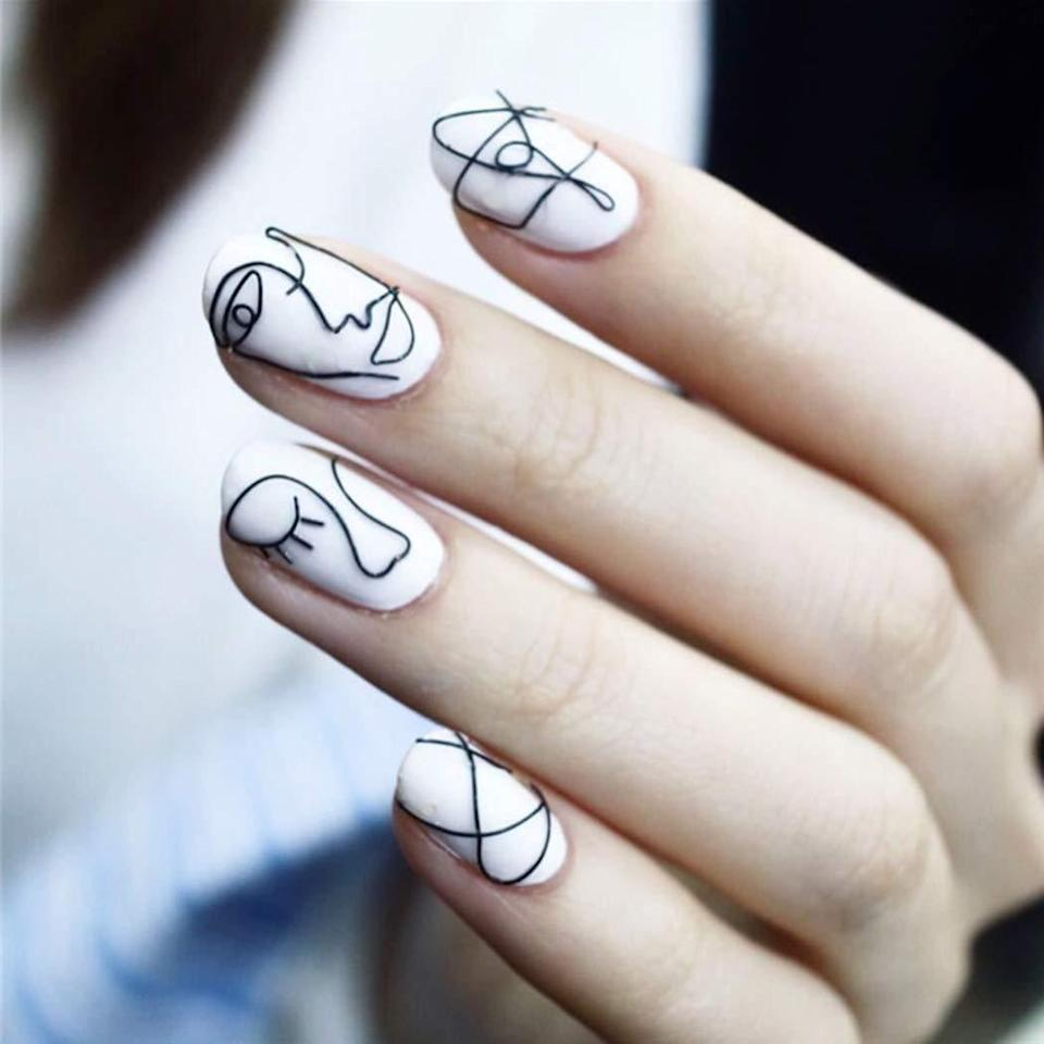 "<p>If <a href=""https://www.allure.com/gallery/easy-nail-art-ideas-michelle-lee?mbid=synd_yahoo_rss"" rel=""nofollow noopener"" target=""_blank"" data-ylk=""slk:DIY'ing nail art"" class=""link rapid-noclick-resp"">DIY'ing nail art</a> tests your patience to new limits, we suggest popping on EDary's Geometric Lines Press-On Nails to save you time and frustration. Each 24-piece set is pre-decorated with black abstract lines and faces for a minimalist design that still packs a punch. Depending on <a href=""https://www.allure.com/story/short-nails-gel-manicure-trend?mbid=synd_yahoo_rss"" rel=""nofollow noopener"" target=""_blank"" data-ylk=""slk:how short"" class=""link rapid-noclick-resp"">how short</a> you prefer your nails, you might be able to skip the usual filing. Outfit each nail with an adhesive sticker (or glue), hold each press-on for five seconds, and voilà, your very own nail art exhibit is complete.</p> <p><strong>$10</strong> (<a href=""https://www.amazon.com/Edary-24pcs-False-Geometric-Abstract/dp/B07SDBL63F"" rel=""nofollow noopener"" target=""_blank"" data-ylk=""slk:Shop Now"" class=""link rapid-noclick-resp"">Shop Now</a>)</p>"