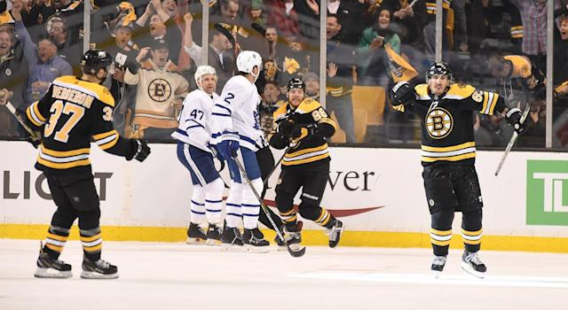 "<a class=""link rapid-noclick-resp"" href=""/nhl/players/4351/"" data-ylk=""slk:Brad Marchand"">Brad Marchand</a> open the scoring in the Maple Leafs' highly-anticipated series with the <a class=""link rapid-noclick-resp"" href=""/nhl/teams/bos"" data-ylk=""slk:Boston Bruins"">Boston Bruins</a>. (Steve Babineau/NHLI via Getty Images)"