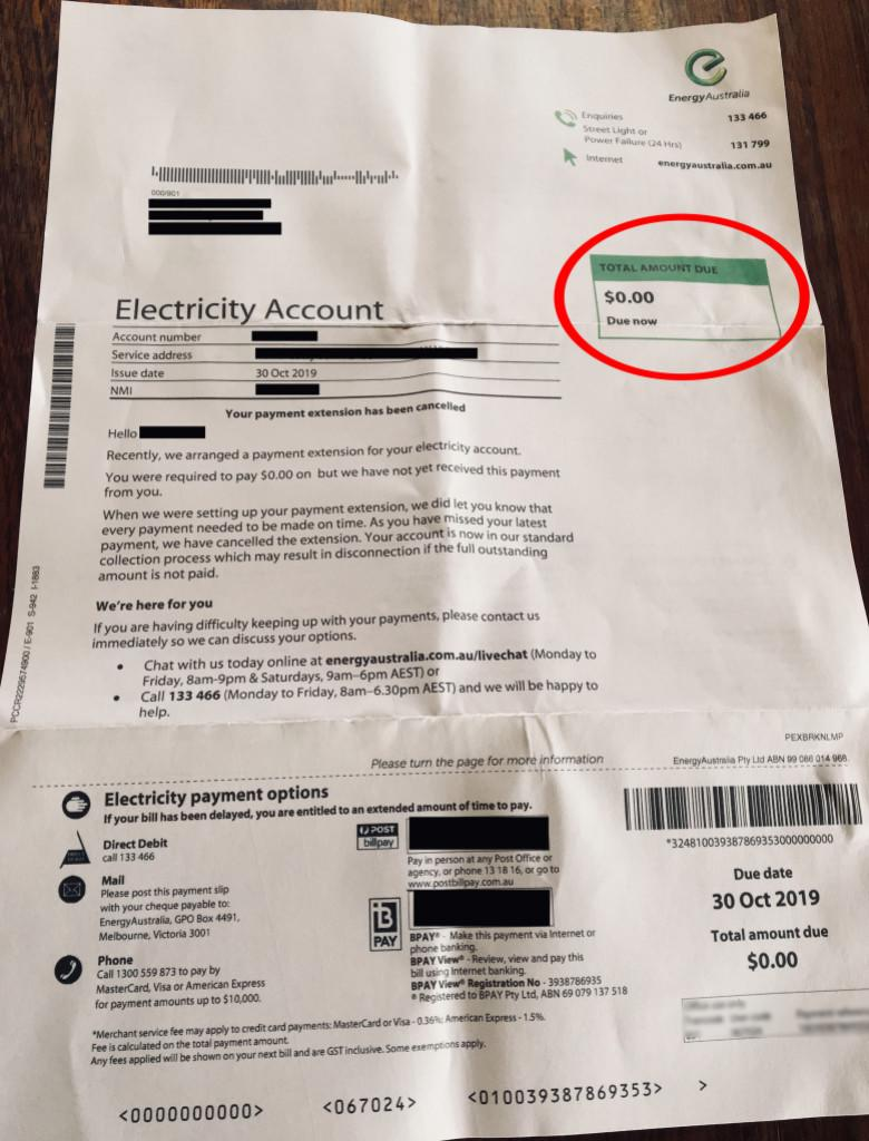 Pictured is the power bill from Energy Australia. Source: 3AW.