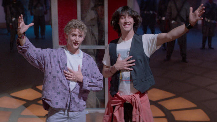 Alex Winter and Keanu Reeves in 'Bill & Ted's Excellent Adventure'. (Credit: Studiocanal)