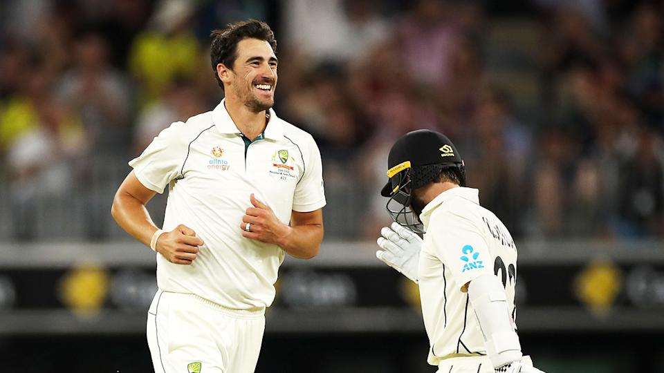 Seen here, Mitchell Starc celebrates one of his wickets on day two against New Zealand.