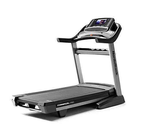 """<p><strong>NordicTrack</strong></p><p>amazon.com</p><p><strong>$1999.00</strong></p><p><a href=""""https://www.amazon.com/dp/B07JQL9FPD?tag=syn-yahoo-20&ascsubtag=%5Bartid%7C10055.g.37788544%5Bsrc%7Cyahoo-us"""" rel=""""nofollow noopener"""" target=""""_blank"""" data-ylk=""""slk:Shop Now"""" class=""""link rapid-noclick-resp"""">Shop Now</a></p><p>Ranked as one of the <a href=""""https://www.goodhousekeeping.com/health-products/g26951456/best-home-gym-equipment/"""" rel=""""nofollow noopener"""" target=""""_blank"""" data-ylk=""""slk:best home gym equipment essentials"""" class=""""link rapid-noclick-resp"""">best home gym equipment essentials</a> by the Good Housekeeping Institute, the NordicTrack Commercial 1750 folding treadmill is<strong> a joy to use and its advanced digital features might just get you excited about exercising from home</strong>. This portable treadmill comes equipped with a 10"""" HD touchscreen display that pairs with your headphones via Bluetooth so you can join live, interactive workouts or studio sessions coached by iFIT trainers right from your machine. Though an iFIT membership will cost extra, a 30-day trial is included. </p><p>Along with a lengthy five-foot running belt, this treadmill is capable of quietly inclining to 15 percent or declining to -3 percent to mimic various running terrains and enhance your training session. In our tests, we found the NordicTrack's motor to be very capable and able to withstand running speeds up to 12MPH. The treadmill also isn't too difficult to put away thanks to a built-in mechanism that helps you gently lower and fold the treadmill. </p><p><strong>Running belt:</strong> 60"""" (5 feet)<strong><br>Dimensions:</strong> 81.25"""" L x 39.25"""" W x 62.75"""" H<strong><br>Weight capacity:</strong> 300 lb.<br></p>"""