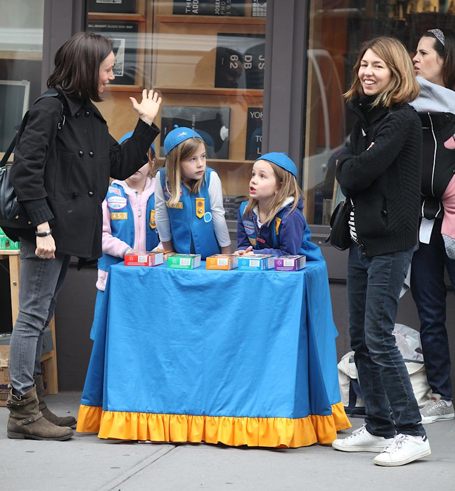 -New York, NY -04/13/13   Sofia Coppola with daughter Romy Croquet (6 1/2 years old) selling Girl Scout Cookies in front of the Marc Jacobs Bookstore in the West Village