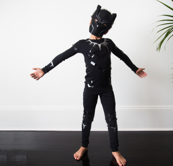 "<p>This Black Panther costume comes together with a <a href=""https://www.primary.com/shop/kids/the-long-sleeve-pj-top"" rel=""nofollow noopener"" target=""_blank"" data-ylk=""slk:long-sleeved black top"" class=""link rapid-noclick-resp"">long-sleeved black top</a> and <a href=""https://www.primary.com/shop/kids/the-pj-pant"" rel=""nofollow noopener"" target=""_blank"" data-ylk=""slk:black pants"" class=""link rapid-noclick-resp"">black pants</a>, electrical tape, felt, and paint. It's comfy <em>and</em> cool!</p><p><strong>Get the tutorial at <a href=""https://www.primary.com/diy/all/blackpanther"" rel=""nofollow noopener"" target=""_blank"" data-ylk=""slk:Primary"" class=""link rapid-noclick-resp"">Primary</a>.</strong></p><p><strong><a class=""link rapid-noclick-resp"" href=""https://www.amazon.com/Electrical-LYLTECH-Certification-Waterproof-Retardant/dp/B07THRDYNV/ref=sr_1_4?tag=syn-yahoo-20&ascsubtag=%5Bartid%7C10050.g.21345654%5Bsrc%7Cyahoo-us"" rel=""nofollow noopener"" target=""_blank"" data-ylk=""slk:SHOP ELECTRICAL TAPE"">SHOP ELECTRICAL TAPE</a> </strong></p>"