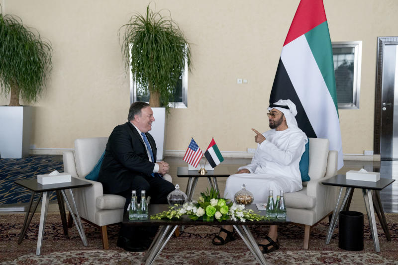 U.S. Secretary of State Mike Pompeo, left, and Abu Dhabi's Crown Prince Sheikh Mohammed bin Zayed Al Nahyan meet at the Al Shati Palace in Abu Dhabi, United Arab Emirates, Tuesday, July 10, 2018. Pompeo is on a trip traveling to North Korea, Japan, Vietnam, Afghanistan, Abu Dhabi, and Brussels. (AP Photo/Andrew Harnik, Pool)