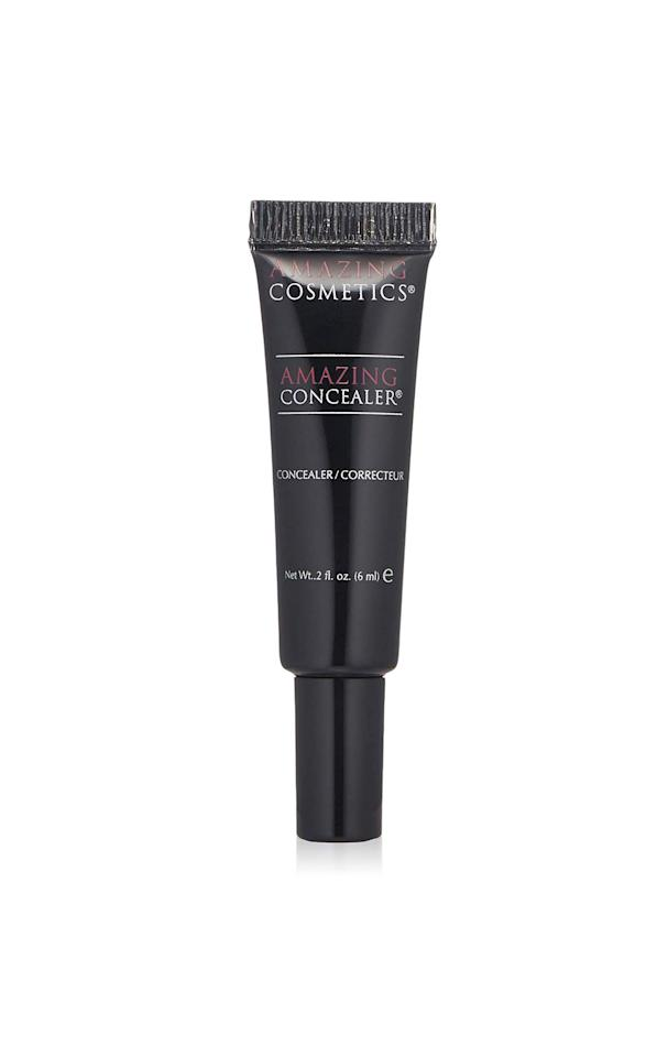"""<p><strong>Amazing Cosmetics</strong></p><p>amazon.com</p><p><strong>$28.00</strong></p><p><a href=""""http://www.amazon.com/dp/B001545NNE/?tag=syn-yahoo-20&ascsubtag=%5Bartid%7C10072.g.28409750%5Bsrc%7Cyahoo-us"""" target=""""_blank"""">Shop Now </a></p><p>A classic with a cult following, this concealer is long lasting and highly pigmented. You only need a dot for each under eye and can use your fingers or a brush to blend.</p>"""