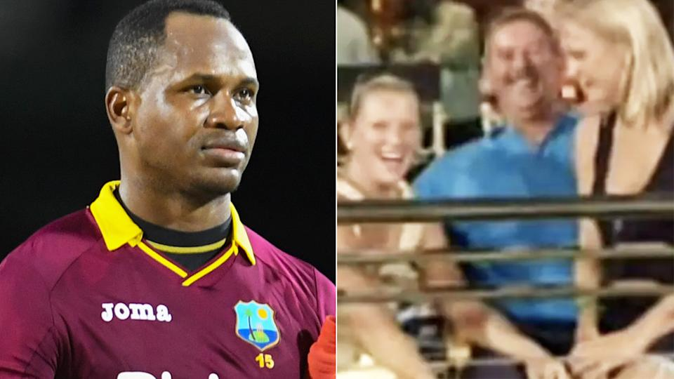 West Indian cricketer Marlon Samuels has dragged the wives of other England players into a petty social media spat he is engaging in with Ben Stokes. Pictures: Getty Images/YouTube