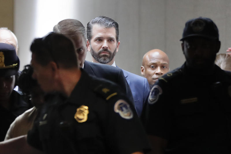 Donald Trump Jr. arrives to meet privately with members of the Senate Intelligence Committee on Capitol Hill on Washington, D.C., Wednesday. (AP Photo/Pablo Martinez)