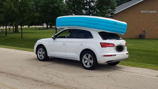 PHOTO: An Illinois woman was arrested for on Tuesday, July 09, 2019, for allegedly driving her SUV while her children sat in an inflatable pool on its roof. (Dixon, Illinois Police Department)