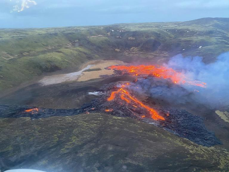 Lava flowing from the erupting Fagradalsfjall volcano