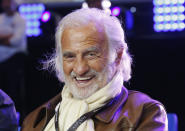 FILE - In this May 20, 2016 file photo, French actor Jean Paul Belmondo smiles during the cruiserweight title bout between Cuban Boxer Yunier Dorticos and French boxer Youri Kalenga in Paris. French New Wave actor Jean-Paul Belmondo has died, according to his lawyer's office on Monday Sept. 6, 2021. (AP Photo/Michel Euler, File)