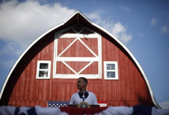 President Barack Obama attends a town hall-style event at Seed Savers Exchange in Decorah, Iowa, August 15, 2011.
