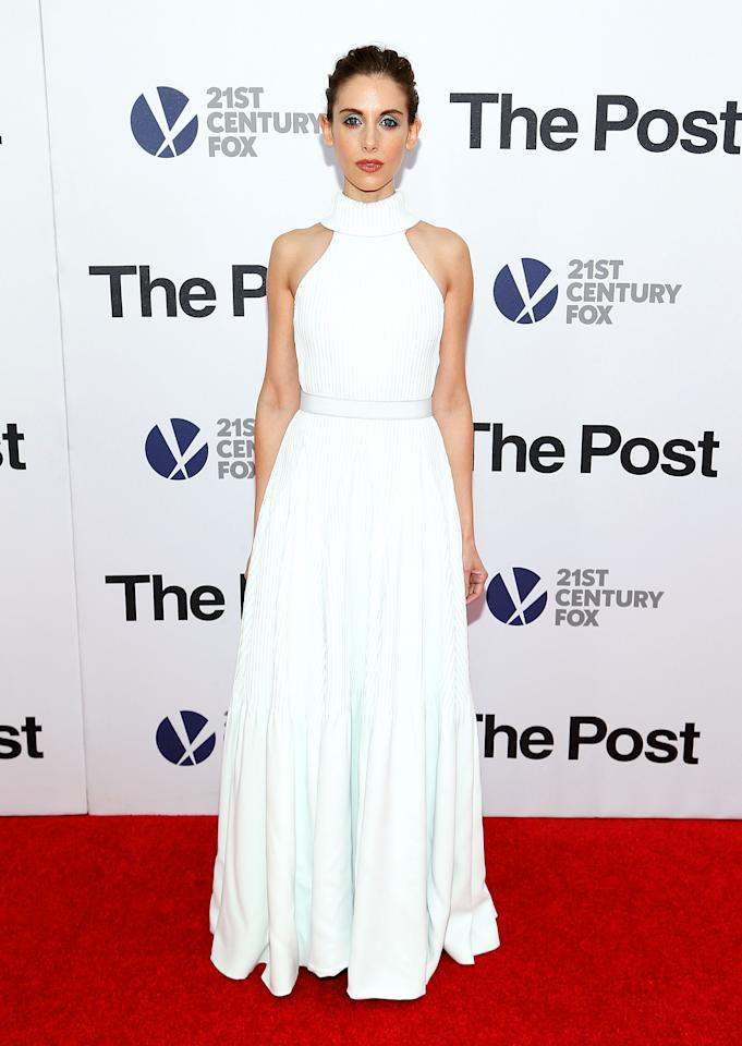 <p>Alison was a vision in white, choosing an angelic Brandon Maxwell gown. <i>[Photo: Getty]</i> </p>