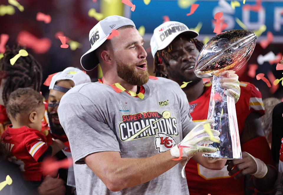 The Kansas City Chiefs won Super Bowl LIV at the Hard Rock Stadium in Miami Gardens, Florida, in February 2020, just a month before the coronavirus pandemic began to shut down the US (Getty Images)