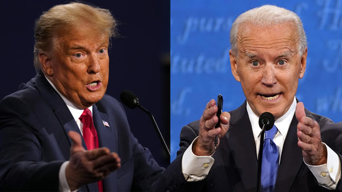 President Donald Trump and Joe Biden during the final Presidential Debate in Nashville, TN on Oct. 22, 2020. (Photo illustration: Yahoo News; photos: Patrick Semansky/AP,  Julio Cortez/AP)