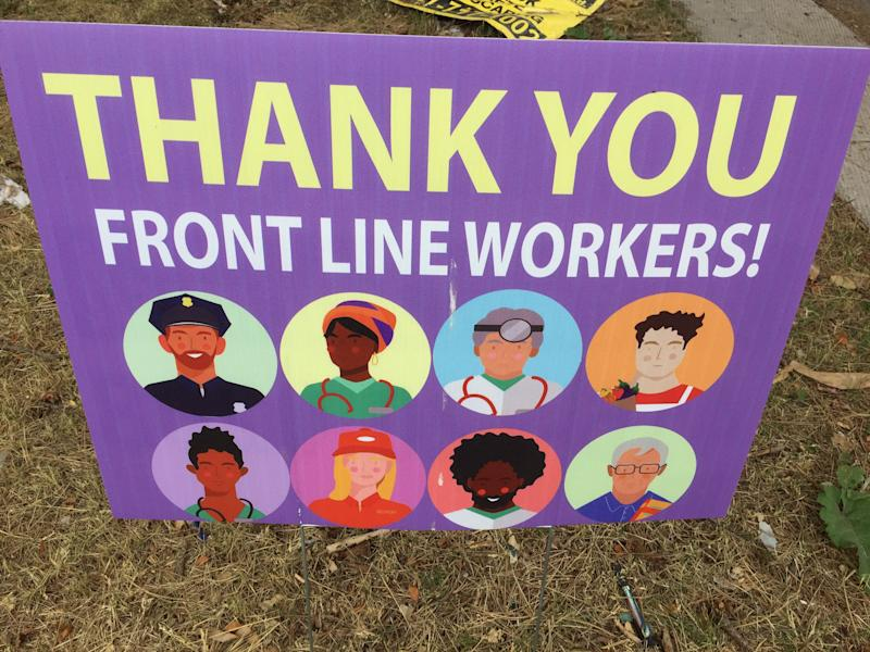 A sign thanking frontline workers during the COVID-19 pandemic in Toronto, Ont., on June 30, 2020. (Photo: NurPhoto via Getty Images)