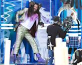 <p>Jason Momoa is in great spirits while in full costume on the set of <em>Slumberland</em> in Toronto on Monday.</p>