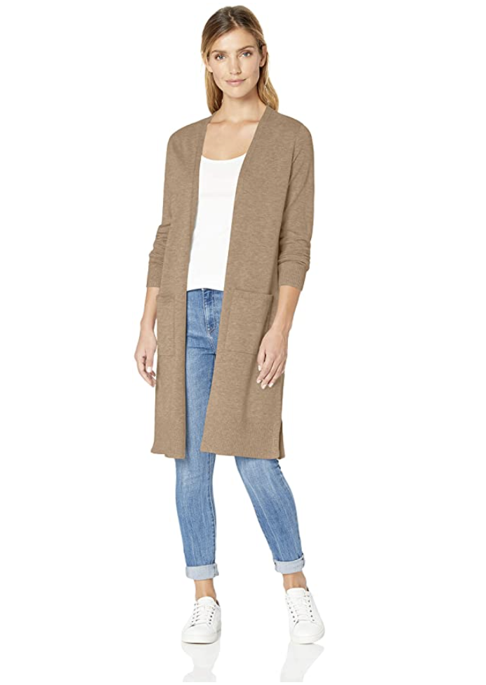 blonde model wearing Amazon Essentials Women's Lightweight Longer Length Cardigan in Camel Heather and jeans