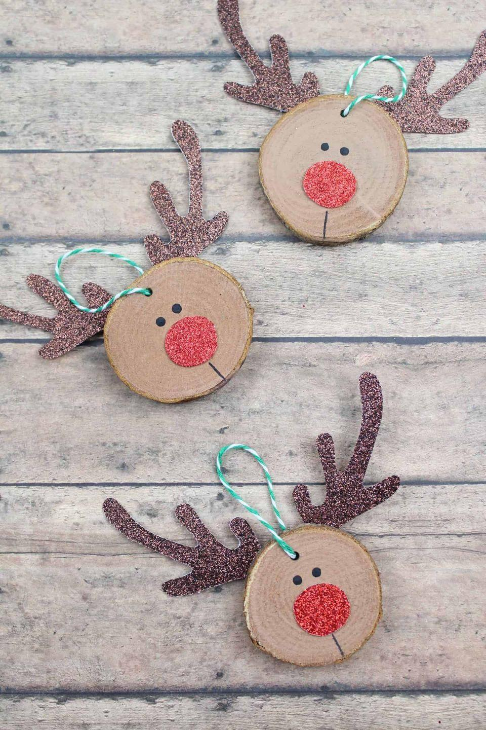 "<p>It's a snap to make these cute Rudolph ornaments—plus, their sparkly red noses will look so pretty next to your twinkle lights!</p><p><strong>Get the tutorial at <a href=""https://www.theinspirationedit.com/rudolf-christmas-craft-diy-craft-for-kids/"" rel=""nofollow noopener"" target=""_blank"" data-ylk=""slk:The Inspiration Edit"" class=""link rapid-noclick-resp"">The Inspiration Edit</a>.</strong></p><p><a class=""link rapid-noclick-resp"" href=""https://www.amazon.com/Unfinished-Craft-Christmas-Ornaments-William/dp/B07FZM1GKQ/ref=sr_1_5?tag=syn-yahoo-20&ascsubtag=%5Bartid%7C10050.g.1070%5Bsrc%7Cyahoo-us"" rel=""nofollow noopener"" target=""_blank"" data-ylk=""slk:SHOP WOOD SLICES"">SHOP WOOD SLICES</a><br></p>"