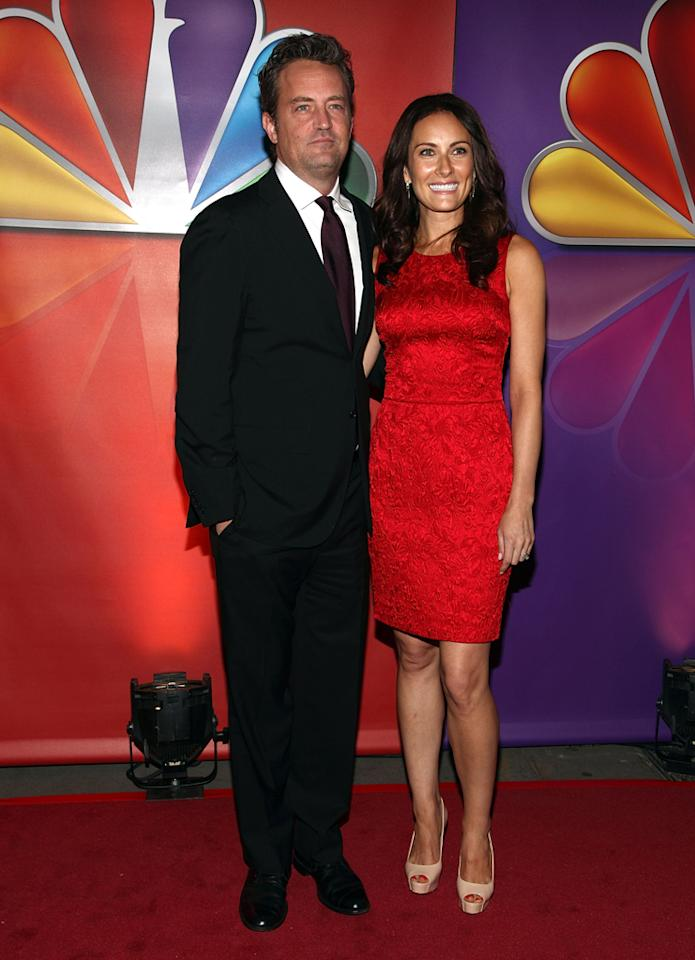 "Matthew Perry and Laura Benanti (""Go On"") attend NBC's 2012 Upfront Presentation at 51st Street on May 14, 2012 in New York City."