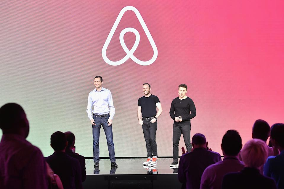 L-R: Airbnb cofounders Nathan Blecharczyk, Joe Gebbia, and Brian Chesky speak onstage at Airbnb Open LA on Nov. 17, 2016 in Los Angeles, Calif.  (Photo by Mike Windle/Getty Images for Airbnb)