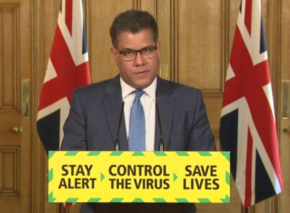 Screen grab of Business, Energy and Industrial Strategy Secretary Alok Sharma during a media briefing in Downing Street, London, on coronavirus (COVID-19). (Photo by PA Video/PA Images via Getty Images)