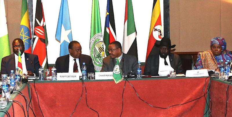 A photo provided by PSCU shows South Sudanese rebel chief Riek Machar (L) and South Sudanese President Salva Kiir (2nd R) on November 8, 2014 at the end of the 28th Inter-Governmental Authority on Development extraordinary summit in Addis Ababa (AFP Photo/)