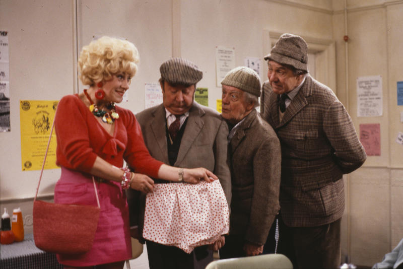 Actors (L-R) Jean Fergusson, Peter Sallis, Bill Owen and Michael Aldridge in a scene from episode 'The Kiss and Mavis Poskit' of the BBC television sitcom 'Last of the Summer Wine', October 15th 1989. (Photo by Don Smith/Radio Times/Getty Images)