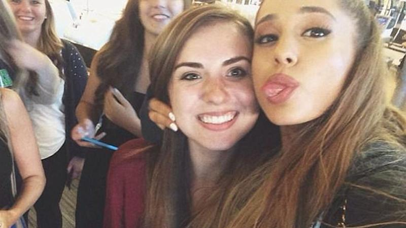 The scammer used a photo of Arizona student Nisa Ayral, who was pictured with Ariana Grande a year earlier. Source: GoFundMe