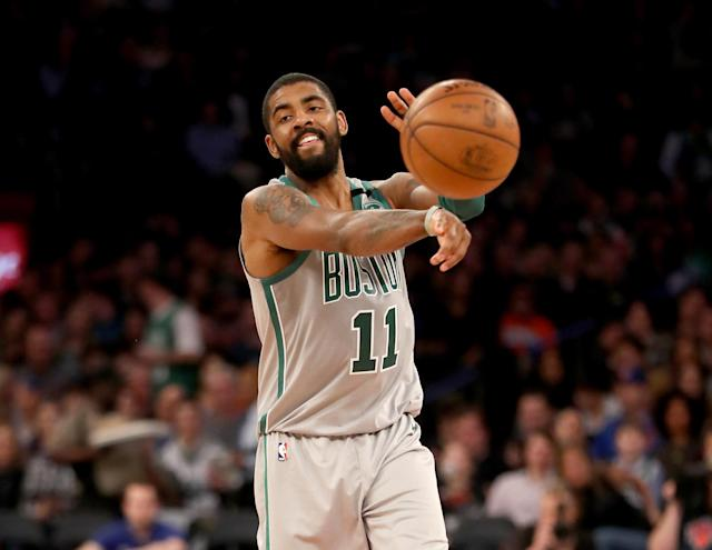 "<a class=""link rapid-noclick-resp"" href=""/nba/players/4840/"" data-ylk=""slk:Kyrie Irving"">Kyrie Irving</a> said on Thursday that he plans to re-sign with the <a class=""link rapid-noclick-resp"" href=""/nba/teams/bos"" data-ylk=""slk:Boston Celtics"">Boston Celtics</a> when he hits free agency next summer. (Getty Images)"