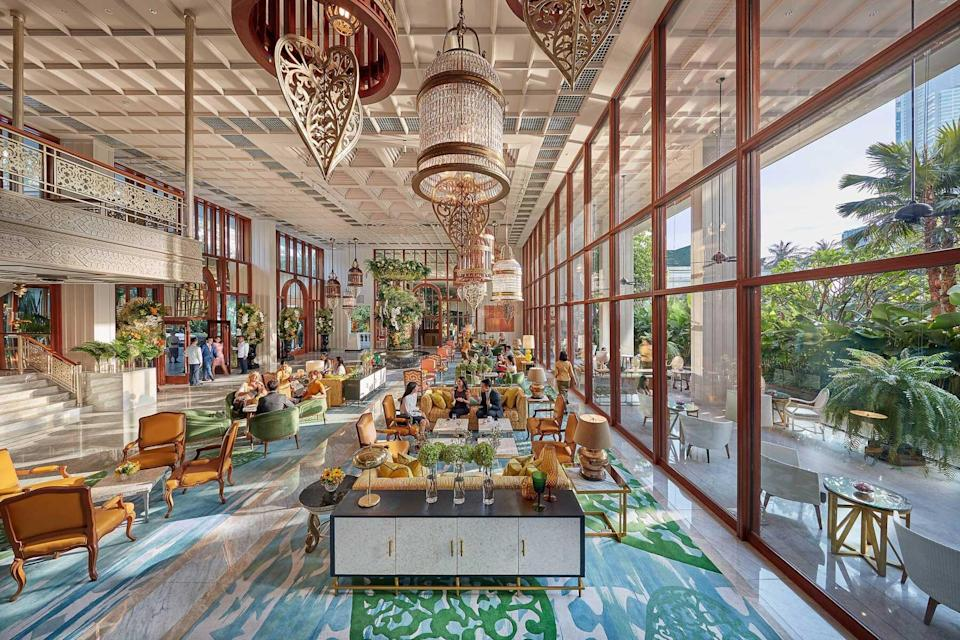 Light filled lobby of the Mandarin Oriental, Bangkok, voted one of the best hotels in the world