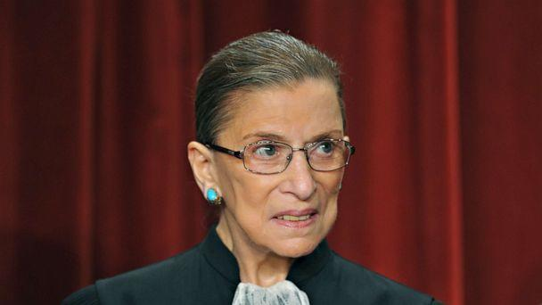 PHOTO: Supreme Court Justice Ruth Bader Ginsburg poses during a group photo in the East Conference Room of the Supreme Court, in Washington, Sept. 29, 2009. (Mandel Ngan/AFP via Getty Images, File)