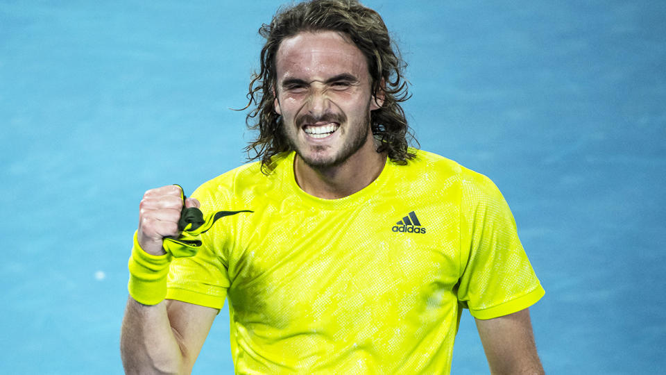 Stefanos Tsitsipas, pictured here after his win over Rafael Nadal at the Australian Open.